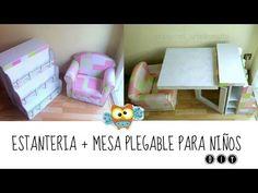 DIY ✿ Manualidades en cartón: Estanteria + mesa plegable para niños - YouTube