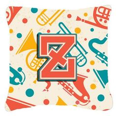"Caroline's Treasures Retro Initial Musical Instruments Indoor/Outdoor Throw Pillow Letter: L, Size: 14"" H x 14"" W x 4"" D"