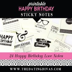 Surprise your spouse with printable love Sticky Notes! These quick love notes will help you celebrate birthdays, anniversaries, and everything in between! Happy Birthday Love, Birthday For Him, Love Notes For Him, Birthday Posts, Birthday Ideas, Date Night Gifts, Birthday Traditions, Happy Wishes, Dating Divas