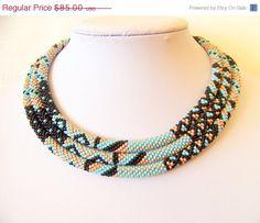 VALENTINES DAY SALE Long Beaded Crochet Rope Necklace - Beadwork - Seed beads jewelry - Elegant - Geometric  - Patchwork - sky blue, black,