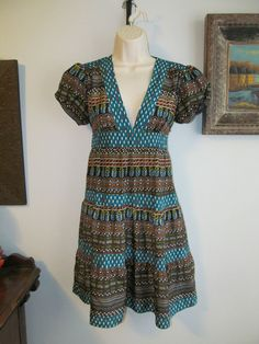 WHAT COMES AROUND GOES AROUND for ANTHROPOLOGIE 100% Silk Multi-color Dress Sz 2 #Anthropologie #Tiered #Casual