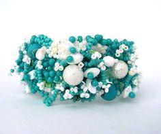 Beaded jewelry, Seed bead jewelry, Beadwork bracelet, Beaded cuff bracelet, Freeform peyote bracelet, turquoise white