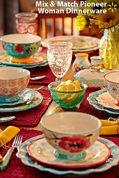 Go ahead, get a little crazy - mix, match and have fun! The new Pioneer Woman collection makes it easy to mix-and-match and create table settings that are uniquely you. The collection is filled with fun patterns, delicate florals, crackle glazes, vintage looks, embossed surfaces that all work together beautifully. See for yourself how much fun it is – come check out Ree's full line of affordable cookware & tableware online and in-store now.