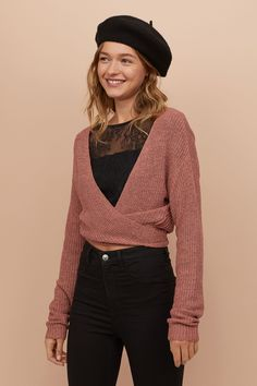 Wrapover Bouclé Cardigan - Vintage pink - Ladies | H&M US 1