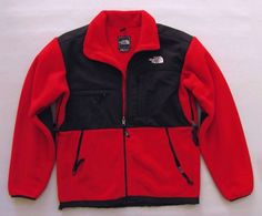 The North Face Denali Mens Jacket Small Red Black Polartec Fleece Coat Full Zip #TheNorthFace #BasicJacket