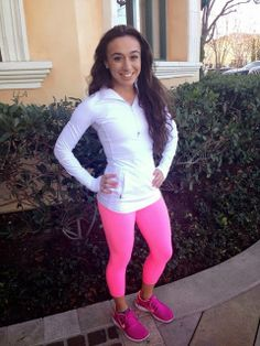 Pink Zing Wunder Under Crops with the Race With Grace Half Zip
