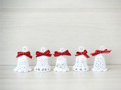 Crochet Christmas ornaments, lace bell crochet, rustic Christmas bells, jingle bell crochet, set of 5 on Etsy, $22.60