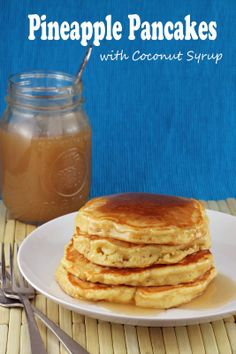 The Stay At Home Chef: Pineapple Pancakes with Coconut Syrup. Use GF flour Breakfast Dishes, Breakfast Time, Breakfast Recipes, Breakfast Casserole, Breakfast Ideas, Pineapple Pancakes, Pineapple Syrup, Coconut Pancakes, Hawaiian Breakfast