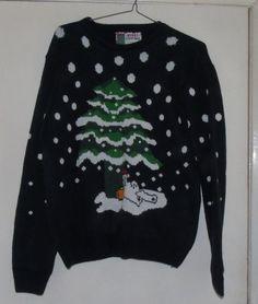 Christmas jumper Size L - Christmas Tree polar bear Ladies or Mens | eBay