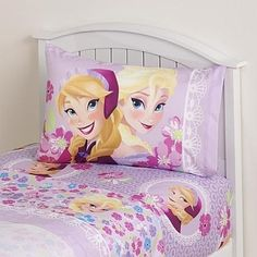 "When you put your little princess to bed at night she can dream about Anna and Elsa from Disney's ""Frozen"" movie because they'll be right under her head. This three-piece Love Blooms design bedsheet set includes one flat sheet, one fitted sheet and a standard pillowcase. Made of soft microfiber, this set is instantly soft and comfortable."