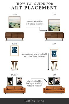 "4 mistakes you might be making when hanging art. A how to guide for artwork placement - how high to hang art and how far apart. Interior Design art hanging rules by Refined Design. diy Interior design A ""HOW TO"" GUIDE FOR ART PLACEMENT"