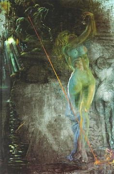 Roger Freeing Angelica (St. George and the Damsel), 1970 by Salvador Dali. Expressionism, Surrealism. religious painting