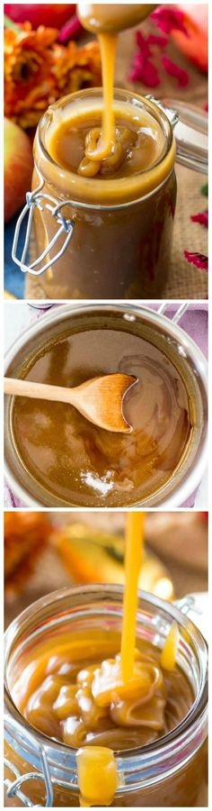 Quick & Easy Salted Caramel Sauce - Sugar Spun Run (thanksgiving treats salted caramels) Easy Desserts, Delicious Desserts, Yummy Food, Diabetic Desserts, Yummy Treats, Sweet Treats, Dessert Sauces, Dessert Recipes, Homemade Christmas Cookie Recipes