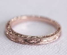 Antique Design 14k White Gold/ Rose Gold/ Yellow Gold Band Wedding Ring/ Band/ Promise Ring/ Engagement Ring by AdamJewelry on Etsy