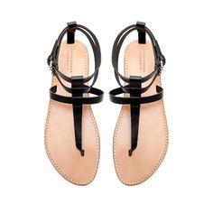 FLAT THONG SANDALS WITH BUCKLE - Flat sandals - Shoes - Woman | ZARA Canada