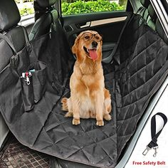 Jasonwell Luxury Waterproof Dog Car Seat Cover with Middle Zipper and Seat Anchors  Hammock Style Machine Washable Non Slip and Waterproof for Cars SUVs and Vehicles >>> Click image for more details.