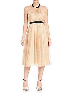 ABS Metallic Tulle Halter Dress - Rose Gold - Size