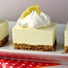"No Bake Lemon Cheesecake Squares is a great dessert for this time of year! The tart lemon no-bake ""cheesecake"" filling sitting atop a traditional graham cracker crust will have your mouth singing and…MoreMore Mini Desserts, Brownie Desserts, No Bake Desserts, Easy Desserts, Delicious Desserts, Oreo Dessert, Coconut Dessert, Dessert Bars, No Bake Lemon Cheesecake"