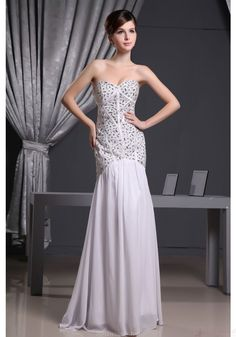 Mermaid Prom Dresses-Sheath Strapless Sweetheart-neck Beaded Bodice Ivory Chiffon Evening Dresses