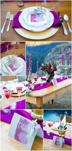 Wedding design and décor, tablescape, jewel tones, bright purple, gold chargers, candlesticks, red roses, gold champagne bottle // Solie Designs