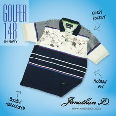 The next chapter in golfer styling. Jonathan D's Golfer 148 is made from a double mercerised yarn dyed cotton and features a modern fit, branded metal buttons, ribbed collar and cuffs, plus a chest pocket and inner buggy. Collar And Cuff, Metal Buttons, Summer 2014, New Trends, Cuffs, Pocket, Creative, Fitness, Modern