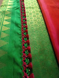 Saree Tassels Designs, Saree Kuchu Designs, Saree Blouse Neck Designs, Bridal Blouse Designs, Fake Rose Petals, Latest Salwar Kameez Designs, Sari Design, Diy Crafts Crochet, Fancy Sarees