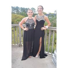 Black Prom Dress (left) Only the dress on the left in the first picture is for sale. It is a size 8-10. Worn once. Returns accepted, but buyer pays return shipping. Dresses Maxi