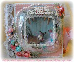 ELITE4U Shabby Chic Merry Christmas TILDA SHAKER HANDMADE BINDER SCRAPBOOK ALBUM #Handmade