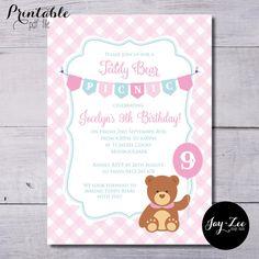 Teddy bears picnic invites hello kitty invitaciones pinterest girls pink teddy bear picnic birthday invitation by jayandzee filmwisefo Image collections
