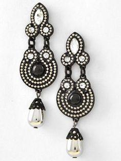 Black White Bead Crystal Deco Drop Earrings