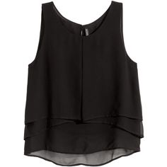 H&M Sleeveless chiffon blouse (€16) ❤ liked on Polyvore featuring tops, blouses, shirts, crop top, tank tops, black, button blouse, sleeveless chiffon shirt, sleeveless chiffon blouse and shirt blouse