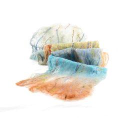 Cobweb Felt Scarf Wool Scarf in Earthy Blues Browns by Fibernique, $55.00