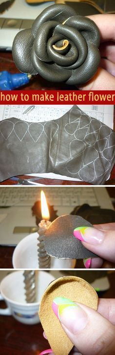 How to Make Leather Flowers. DIY tutorial step by step  www.handmadiya.co...