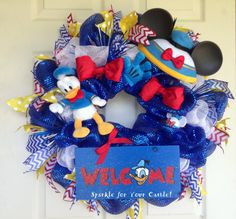 Donald Duck Welcome Wreath by SparkleForYourCastle on Etsy, $139.00