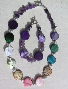 Necklace & Bracelet Set  Mother of Pearl and by SunnyCrystals, £20.00