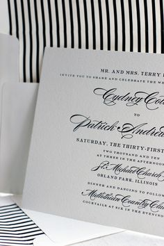 simple and timeless Deveril letterpress wedding invitation by Bella Figura