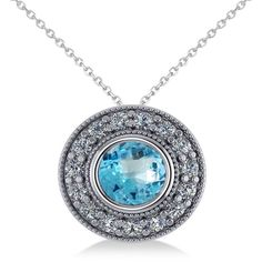 Allurez Round Blue Topaz & Diamond Halo Pendant Necklace 14k White... ($955) ❤ liked on Polyvore featuring jewelry, chain jewelry, white gold jewellery, white gold pendant necklace, blue topaz jewelry and pendant necklaces