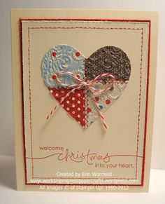 A Quilted Christmas Heart by WIP Paper Crafts - Cards and Paper Crafts at Splitcoaststampers. Not necessarily a Christmas card, just change the sentiment. Would make a beautiful valentine card.
