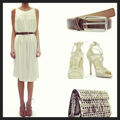The perfect look for a weekend: dress by Tomas Maier, belt by Claudia May, shoes by Duccio Venturi and clutch by Azzedine Alaia