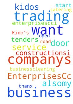 Business also:my companys name is (Kido's Trading EnterprisesCc)i - Business alsomy companys name is Kidos Trading EnterprisesCci want Tenders to start with my Business.cleaning service, catering, road constructions,i want u to pray for me so that the door can be open. Thanx Posted at: https://prayerrequest.com/t/EgA #pray #prayer #request #prayerrequest