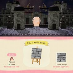 Just updated my castle to surround my museum, here's the code for those asking for it! Animal Crossing Guide, Animal Crossing Qr Codes Clothes, Brick Path, Stone Path, Ac New Leaf, Path Design, Design Ideas, Motifs Animal, Animal Games
