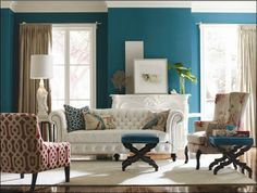 Would love to paint my office walls this shade of peacock blue.