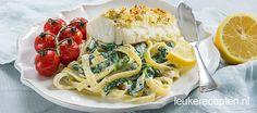 Romige pasta met spinazie en een stukje kabeljauw uit de oven met een krokant korstje