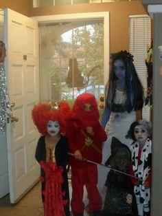 My monsters on Halloween. The red queen, ninjago, corset bride and cruella deville.