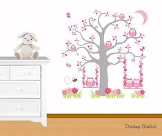 Baby Removable Décor Wall Decals Art for sale Owl Nursery Decor, Girl Nursery, Nursery Murals, Nursery Ideas, Woodland Animals, Woodland Forest, Forest Animals, Preppy Stickers, Floral Room