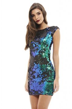"""Glam up in style this season by slipping on this goregeous two tone sequin dress. Perfect for working showstopping style, this trend stopping sequin dress is totally sexy with just the right amount of sophistication thrown in too Model wears: UK 8/ EU 36/ US 4 Model's height: 173cm/ 5'8"""" Approx length from top of shoulder to hem: 85cm Fabric composition: 100% Polyester Colour: BLUE"""