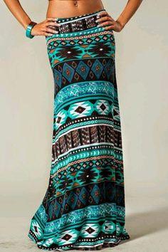 Aztec maxi skirt Bohemian Maxi Skirt, Aztec Maxi Skirts, Maxi Skirt Style, Long Maxi Skirts, Printed Maxi Skirts, Dress Skirt, Aztec Skirt, Maxi Dresses, Tribal Maxi