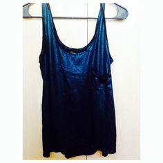 Black Blue Foil like tank top! Like new, worn maybe once but most likely never. Soft black base tank top with a blue teal over lay to create a foil like look. Perfect for the holidays, New Years, going out! Dress up dress down! Also have a gold one, 2 for $15! Urban Outfitters Tops Tank Tops