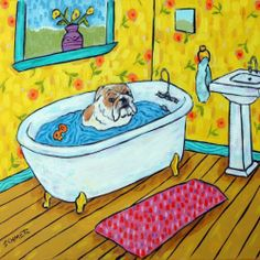 bulldog bath picture animal ceramic dog art tile