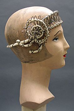 White ivory velvet cord bandeau with wire and silver bugle beads, c. 1920's.